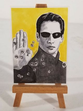 Geri Centonze Sketch Aceo - The Matrix - Neo Ii - Keanu Reeves - 2009
