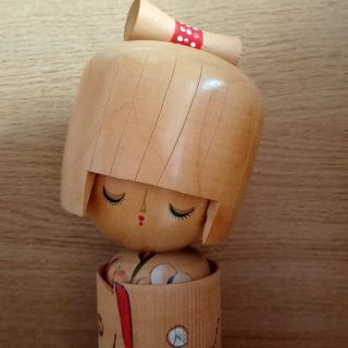 9.  7/8 Inch 25cm Cute Kokeshi Wooden Doll By Aoki Ryoka Japanese Kawaii