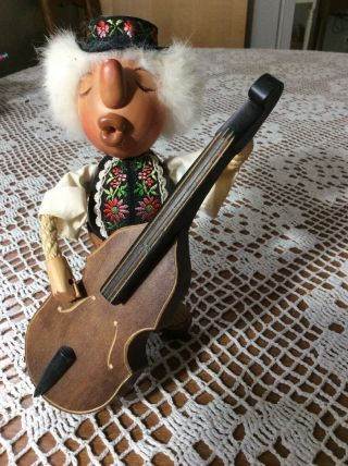 Rare Wooden Figurine Casy Boys Swiss Man With Cello Signed C.  Casagrande
