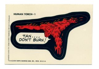 Topps 1975 Comic Book Heroes (marvel Comics Group) Sticker Human Torch - 1