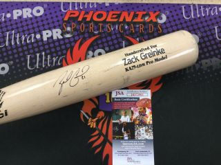 Zack Greinke Signed Auto Marucci Game Bat Bone Rubbed Jsa Rare Not Cracked