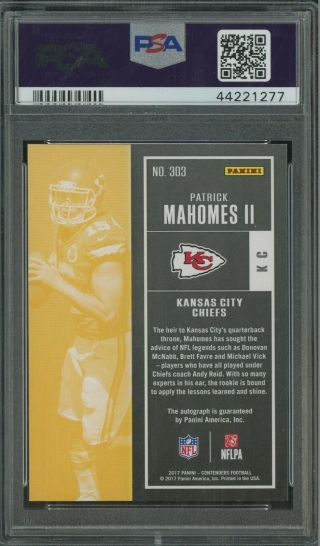 2017 Contenders Cracked Ice Rookie Ticket Patrick Mahomes RC AUTO /25 PSA 9 2
