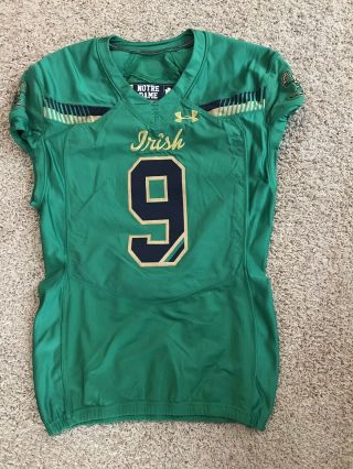 Notre Dame Football Under Armour 2015 Shamrock Series Team Issued Jersey 9 Nd