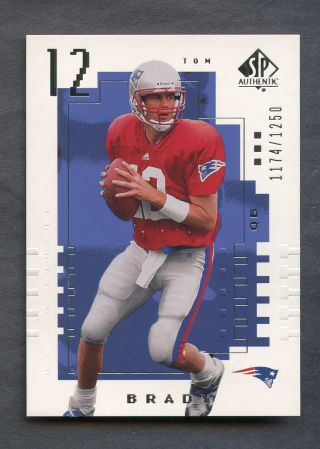 2000 Sp Authentic 118 Tom Brady Patriots Rc Rookie /1250 Pack Fresh