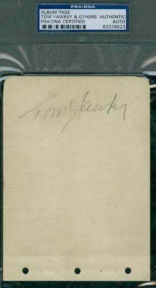 Tom Yawkey Signed Album Page Psa/dna Autograph