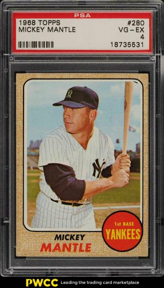 1968 Topps Mickey Mantle 280 Psa 4 Vgex (pwcc)