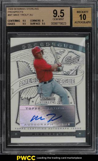 2009 Bowman Sterling Prospects Mike Trout Rookie Rc Auto Bgs 9.  5 Gem (pwcc)