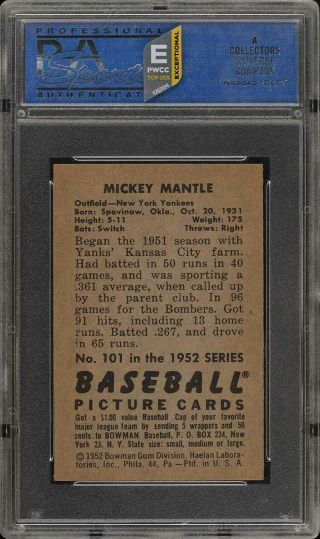 1952 Bowman SETBREAK Mickey Mantle 101 PSA 8 NM - MT (PWCC - E) 2