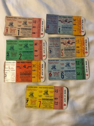 Complete Set Of All 7 World Series 1960 Tickets Pirates Yankees Clemente Mantle