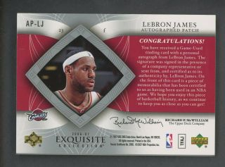 2006 - 07 UD Exquisite LeBron James Game 3 - Color Patch AUTO /100