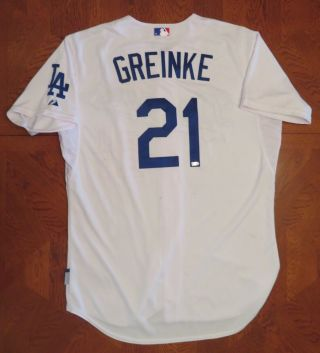 Zack Greinke 10/3/2015 Game 19th Win Dodgers White 21 Home Jersey Size 48