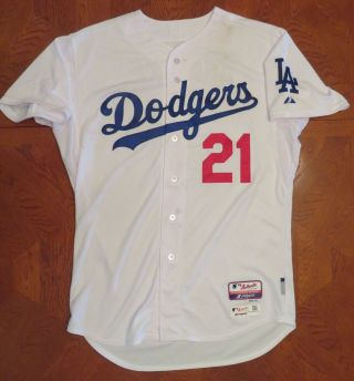 ZACK GREINKE 10/3/2015 GAME 19th WIN DODGERS White 21 HOME JERSEY Size 48 3