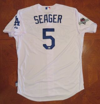Corey Seager Rookie Rc 10/16/2015 Postseason Dodgers 5 Team Issued Jersey Sz 48