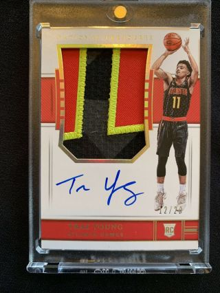 2018 - 19 National Treasures Fotl Trae Young Rpa Rookie Rc Patch Auto 12/20 Sp