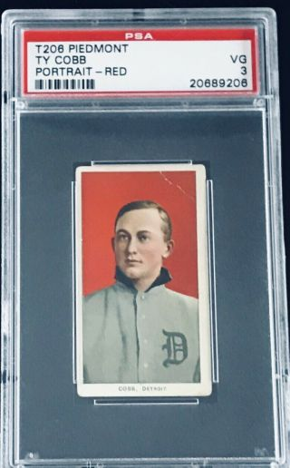 1909 - 11 T206 Ty Cobb Red Portrait Psa 3 Vg