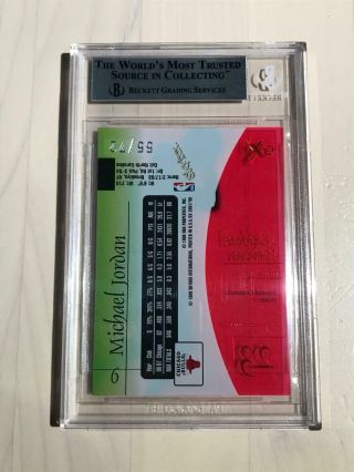 1997 - 98 E - X2001 Michael Jordan Essential Credentials Future 55/72 BGS 9 SSP 2