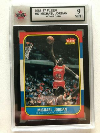 1986 Fleer 57 Michael Jordan Rc Rookie Ksa 9 Psa Bgs
