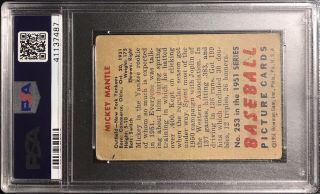 1951 Bowman Mickey Mantle Rookie RC Card 253 PSA 2 (MK) Good - Iconic Card 2