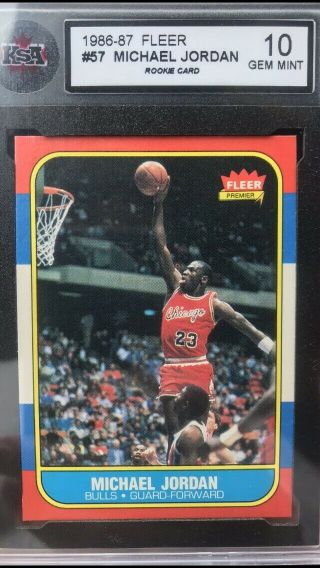 1986 Fleer 57 Michael Jordan Rc Rookie Ksa 10 And Jordan Rookie Sticker Bccg 10