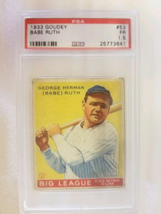1933 Goudey Babe Ruth 53 Psa 1.  5 Fair