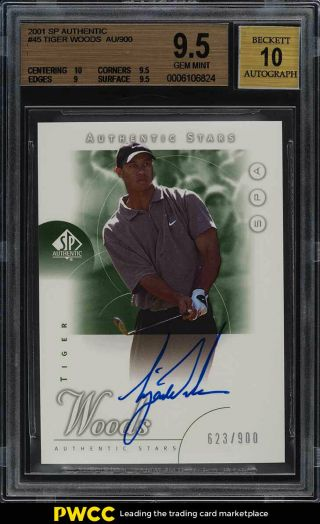 2001 Sp Authentic Golf Tiger Woods Rookie Rc Auto /900 45 Bgs 9.  5 Gem Mt (pwcc)