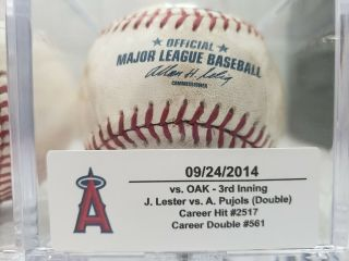 Albert Pujols Game Double 561 Hit 2517 Mlb Authenticated 9/24/14 Angels