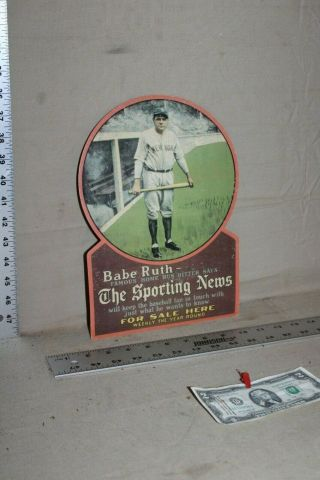 Scarce 1920s Babe Ruth The Sporting News Here Display Sign Baseball