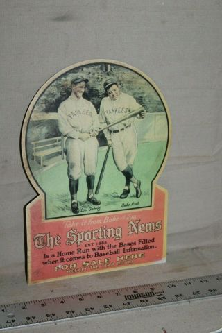 Scarce 1920s Babe Ruth Gehrig The Sporting News Here Display Sign Baseball