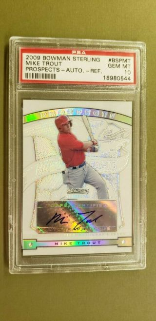 2009 Bowman Sterling Prospects Refractor Mike Trout Auto Rookie /199 Psa 10