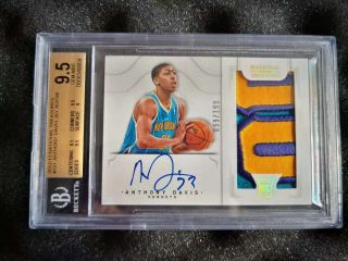 Anthony Davis 2012 - 13 National Treasures Rookie Patch Auto Rc 099/199 Bgs 9.  5/10