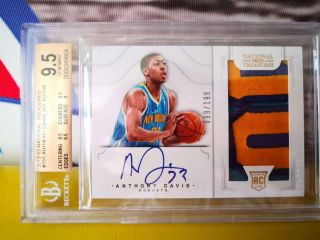 Anthony Davis 2012 - 13 National Treasures Rookie Patch Auto RC 099/199 bgs 9.  5/10 3