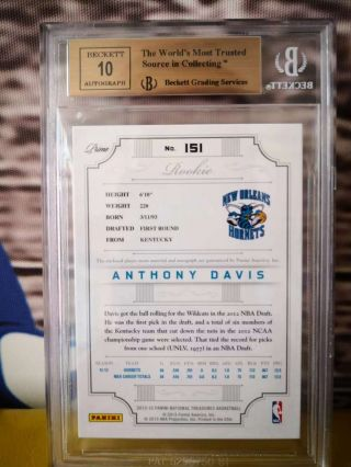 Anthony Davis 2012 - 13 National Treasures Rookie Patch Auto RC 099/199 bgs 9.  5/10 4