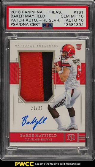 2018 National Treasures Holo Silver Baker Mayfield Rc Auto Patch /25 Psa 10 Pwcc