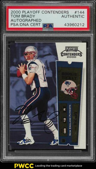 2000 Playoff Contenders Tom Brady Rookie Rc Psa/dna Auto 144 Psa Auth (pwcc)