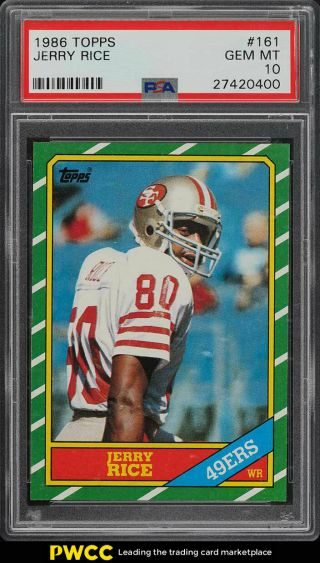 1986 Topps Football Jerry Rice Rookie Rc 161 Psa 10 Gem (pwcc)