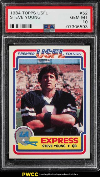 1984 Topps Usfl Steve Young Rookie Rc 52 Psa 10 Gem (pwcc)