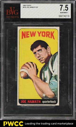 1965 Topps Football Joe Namath Sp Rookie Rc 122 Bvg 7.  5 Nrmt,  (pwcc)