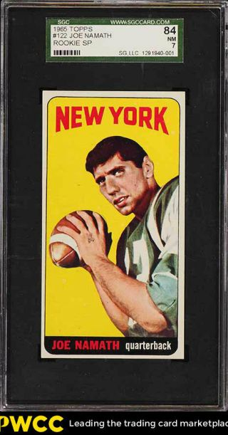 1965 Topps Football Joe Namath Sp Rookie Rc 122 Sgc 7 Nrmt (pwcc)