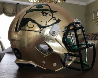 Notre Dame 2015 Shamrock Series Team Issued Helmet 2