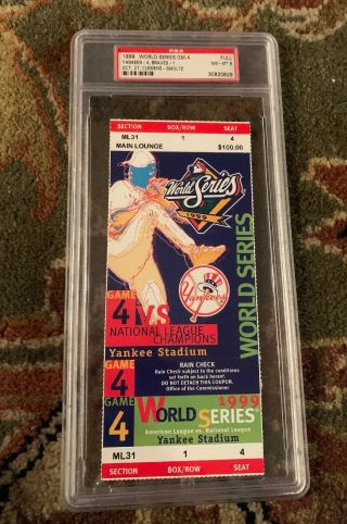 1999 World Series Game 4 Full Ticket Clincher Psa 8 Yankees Win 25th Title