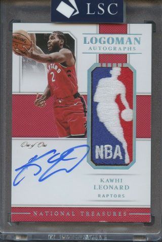 2018 - 19 National Treasures Kawhi Leonard Game Nba Logoman Patch Auto 1/1