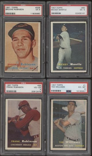 1957 Topps Complete Psa Graded 407 Card Set - Mantle Ted Williams Mays Hank Aaron