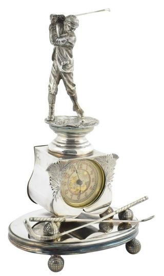 1880s British United Clock Company Golf Trophy W/ Silver Plated Base