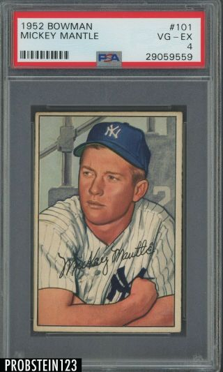 1952 Bowman 101 Mickey Mantle York Yankees Hof Psa 4 Vg - Ex