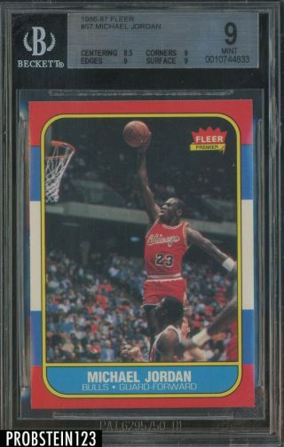 1986 Fleer 57 Michael Jordan Chicago Bulls Rc Rookie Hof Bgs 9 Hot Card