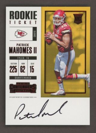 2017 Contenders Rookie Ticket Red Foil Patrick Mahomes Chiefs Rc Auto