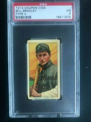 1914 T213 Coupon Cigs Type 2 Bill Bradley Psa 3 Vg (pop 3)