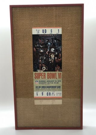 "Bowl Vi Ticket ""full & Unused"" Jan.  16,  1972 Nfl Dolphins Vs.  Cowboys Nola"