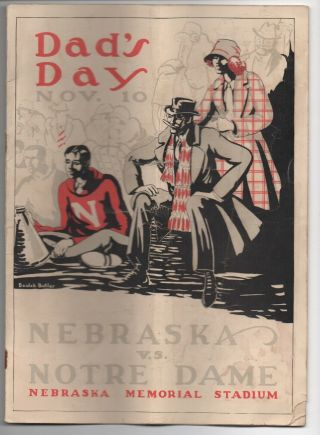 1923 College Football Program Notre Dame Vs Nebraska W/ Knute Rockne 4 Horsemen