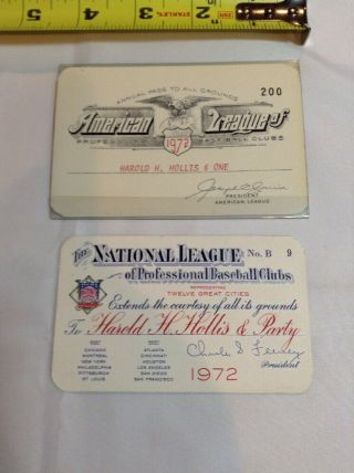 1972 American & National League Mlb Baseball Pass Ticket Pair All Stadium Access